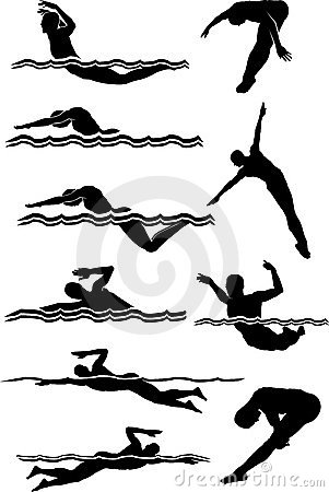 Siluette del maschio di immersione subacquea & di nuoto