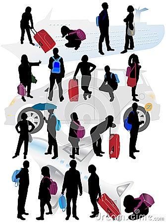 Siluette della gente di viaggio