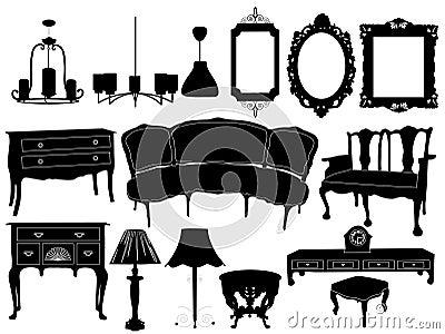 Siluette di retro mobilia differente