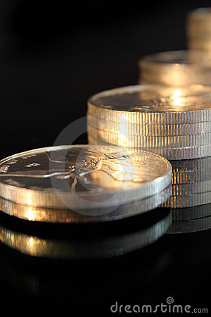 Silvel coins close up