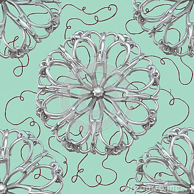 Silver Abstract Flower Pattern