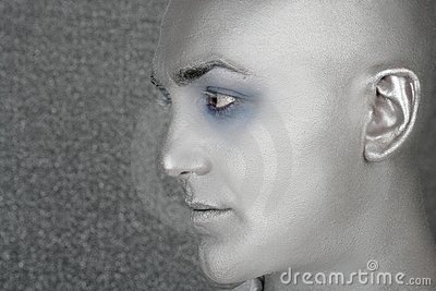 Silver alien man profile portrait extraterrestrial