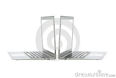 Silver aluminum laptop computer