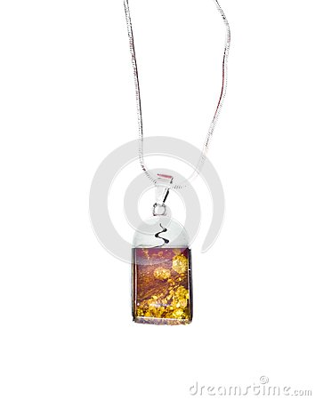Silver amber necklace isolated