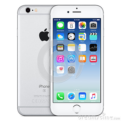 Free Silver Apple IPhone 6s Front View With IOS 9 On The Screen Stock Photography - 65405292