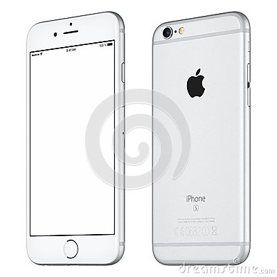 Free Silver Apple IPhone 6S Mockup Slightly Clockwise Rotated Royalty Free Stock Image - 68091506