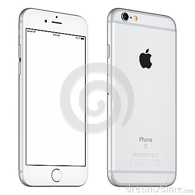 Free Silver Apple IPhone 6S Mockup Slightly Rotated Front View Stock Image - 67266301