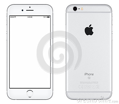 Silver Apple iPhone 6s mockup front view and back side Editorial Stock Photo