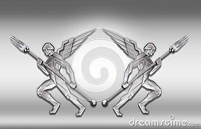 Silver art deco angel w/fork frame