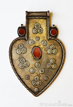 Silver artifact in form of heart