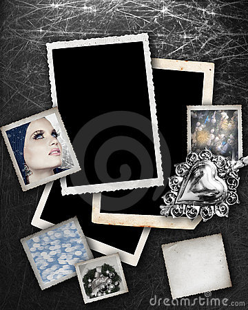 Silver background with frames.