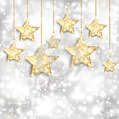 Silver background with gold stars and twinkly ligh