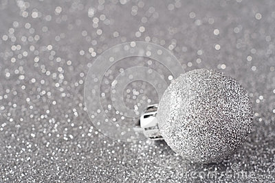Silver Bauble on Glitter