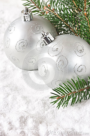 Silver baubles.