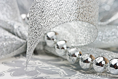 Silver beads and ribbon