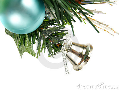 Silver bell, blue bauble on Christmas tree