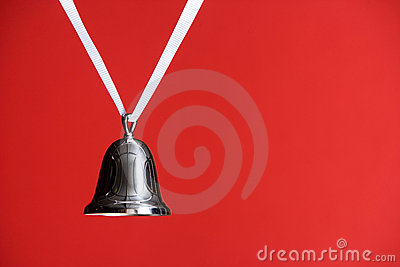 Silver Bell on Red