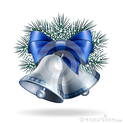 Free Silver Bells With Blue Ribbon Stock Images - 63760714