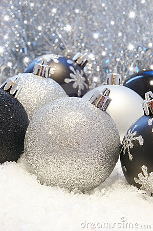 Silver And Black Christmas Decorations Stock Photos