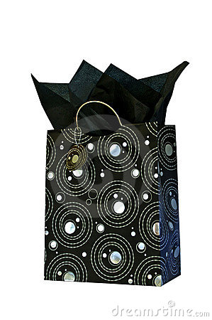 Silver and black patterned gift bag