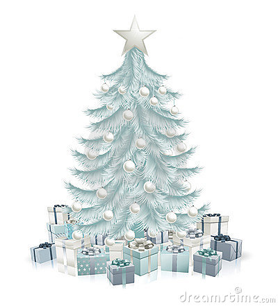 Free Silver Blue Christmas Tree And Gifts Stock Images - 21458624