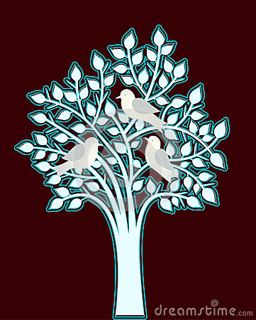 Silver blue tree with birds