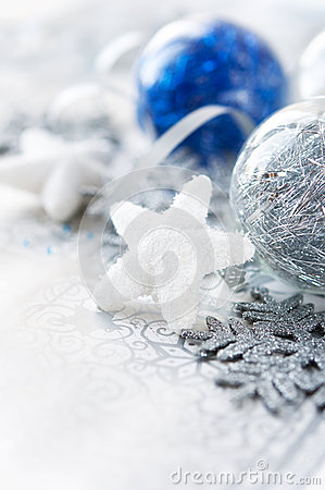 Silver and blue xmas decorations