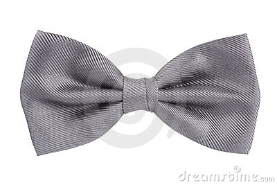 Silver bow tie isolated over white
