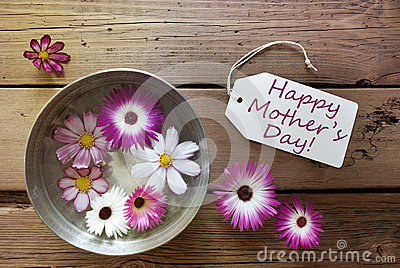 Silver Bowl With Cosmea Blossoms With Text Happy Mothers Day Stock Photo
