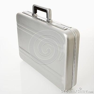 Silver briefcase.