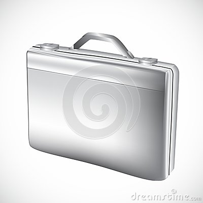 Silver briefcase over white background