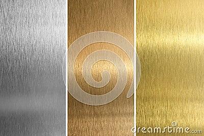 Silver, bronze, brass or golden textures