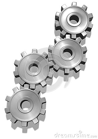 Silver brushed gears