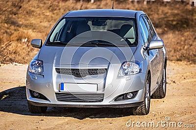 Silver car on the sunny meadow