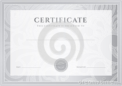 silver certificate diploma template award patter stock