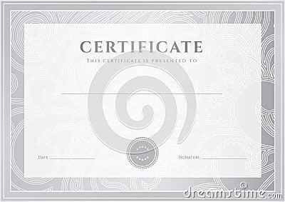 Silver Certificate, Diploma template. Award patter