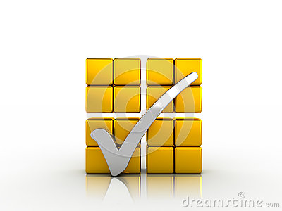 Silver check mark and golden cubes