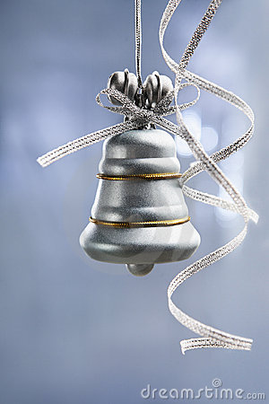 Free SIlver Christmas Bell Over Blue Background Stock Photo - 11859540