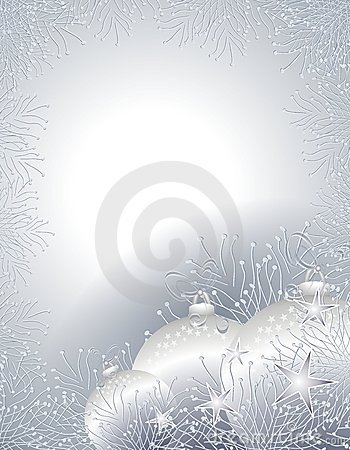 Silver Christmas Ornaments Border or Frame