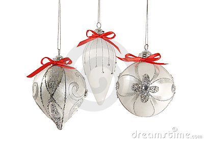 Silver Christmas Ornaments Isolated