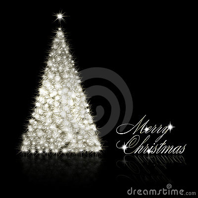 Silver Christmas tree on black background