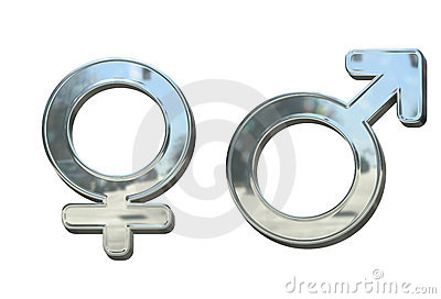 Silver or chrome metal sex 3D symbols isolated