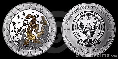 Silver coin depicting the signs of the zodiac