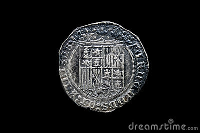 Silver coin of the spanish Catholic Kings isolated on black