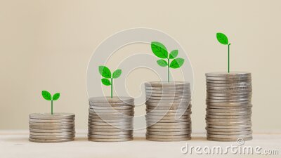 Silver coins arranged in a graph with there are trees on top. stock footage