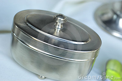 Silver container with lid