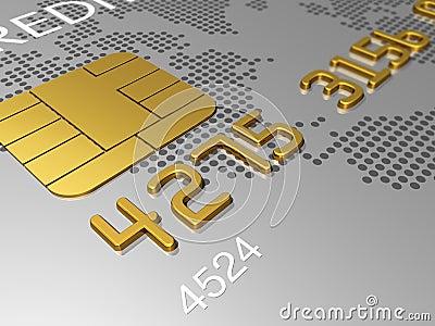 Silver credit card, macro 3D render