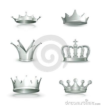 Silver crowns, set