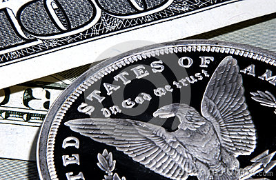 Silver eagle in god we trust