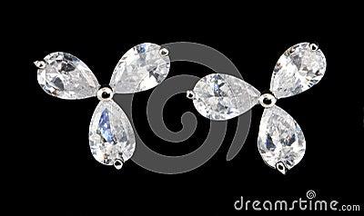 Silver earrings with diamonds